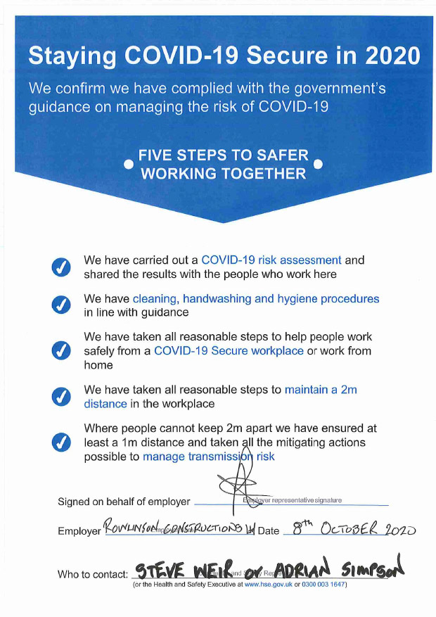 Our Staying COVID-19 Secure in 2020 notice